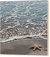 Starfish Catching The Waves Wood Print
