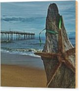 Starfish Driftwood And Pier 3 12/20 Wood Print