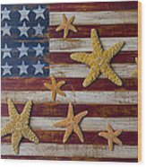 Starfish On American Flag Wood Print by Garry Gay