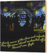 Staring At The Starry Night In The Moma Wood Print