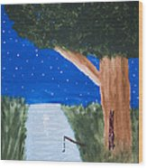 Starlight Fishing Wood Print by Melissa Dawn