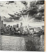 Starlight Over The American Airlines Arena Wood Print