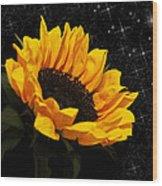 Starlight Sunflower Wood Print