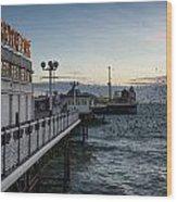 Starling Murmuration Over Brighton Pier In England Wood Print