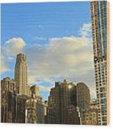 Manhattan Skyline Here Comes The Sun Wood Print by Dan Sproul