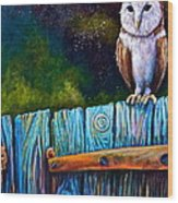 Starry Barn Owl Wood Print