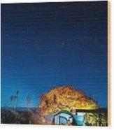 Starry Camp Fire Wood Print