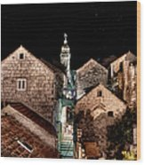 Starry Night Above The Rooftops Of Korcula Wood Print
