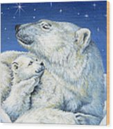 Starry Night Bears Wood Print by Richard De Wolfe