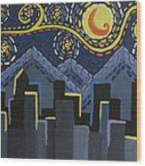 Starry Night Cityscape Wood Print