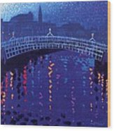 Starry Night In Dublin Wood Print