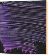 Starry Night In Ithaca New York Star Trail Photography Wood Print