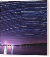 Starry Night On Cayuga Lake Wood Print