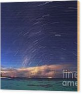 Starry Night On Tropical Resort Wood Print
