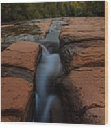 Starry Night Sluice Box Photography At Red Rock Crossing Wood Print