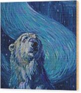 Starry Night Van Gogh Bear Wood Print