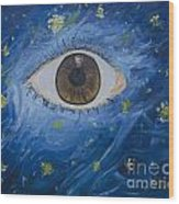 Starry Night With Eye  Wood Print
