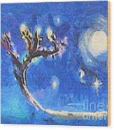 Starry Tree Wood Print by Pixel  Chimp