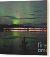 Stars And Northern Lights Over Dark Road At Lake Wood Print
