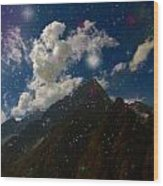 Stars And Planets On Mont Blanc Wood Print