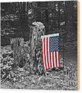 Stars And Stripes With Selective Color Wood Print