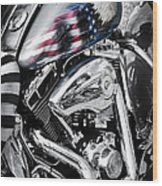 Stars And Stripes Harley  Wood Print by Tim Gainey