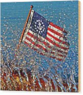 Stars And Strips At Lake Tahoe Wood Print