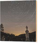 Stars Trails Over Cemetery Wood Print