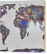 Stars World Map Wood Print