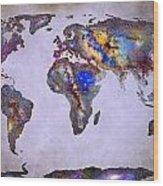 Stars World Map Space Wood Print