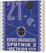 Starschips 21- Poststamp - Sputnik 2 Wood Print