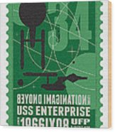 Starschips 34-poststamp - Uss Enterprise Wood Print by Chungkong Art