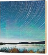 Startrails Aurora Borealis Display Lake Laberge Wood Print