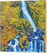Starvation Creek Falls Wood Print