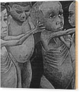 Starving Children Awaiting Relief Food Wood Print