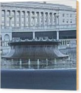 State Capital Fountain Wood Print