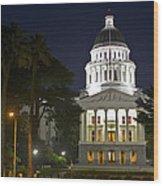 State Capitol At Night Sacramento Wood Print