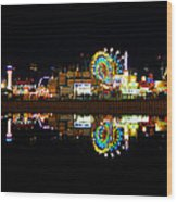 State Fair In Reflection Wood Print