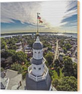 State House Beauty Over Annapolis Wood Print