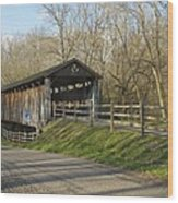 State Line Or Bebb Park Covered Bridge Wood Print