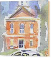 Stately Courthouse With Police Car Wood Print