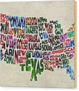 States Of United States Typographic Map - Parchment Style Wood Print