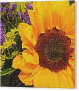 Statice And Sunflower Wood Print