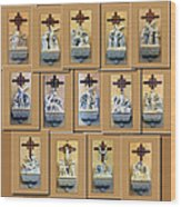 Stations Of The Cross Collage Wood Print