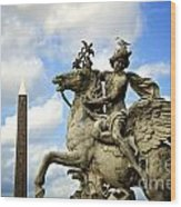 Statue . Place De La Concorde. Paris. France Wood Print by Bernard Jaubert