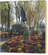 Statue And Flower Bed Across The Street From The Grand Palais Off Of Champs Elysees Wood Print
