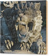 Statue At Tanah Lot Wood Print