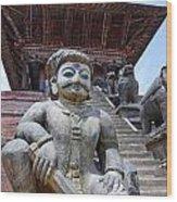 Statue At The Nyatapola Temple At Bhaktapur In Nepal Wood Print by Robert Preston