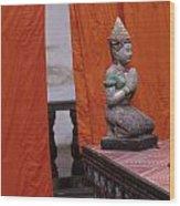 Statue At Wat Phnom Penh Cambodia Wood Print