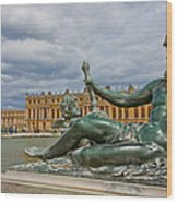 Statue In Front Of Versailles Wood Print